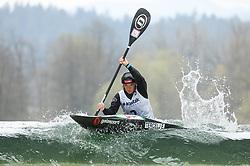Eva Tercelj of Slovenia competes during the Kayak Single (K1) Women race in Semifinal of European Open Canoe Slalom Cup on April 18, 2021 in Tacen, Ljubljana, Slovenia. Photo by Vid Ponikvar / Sportida