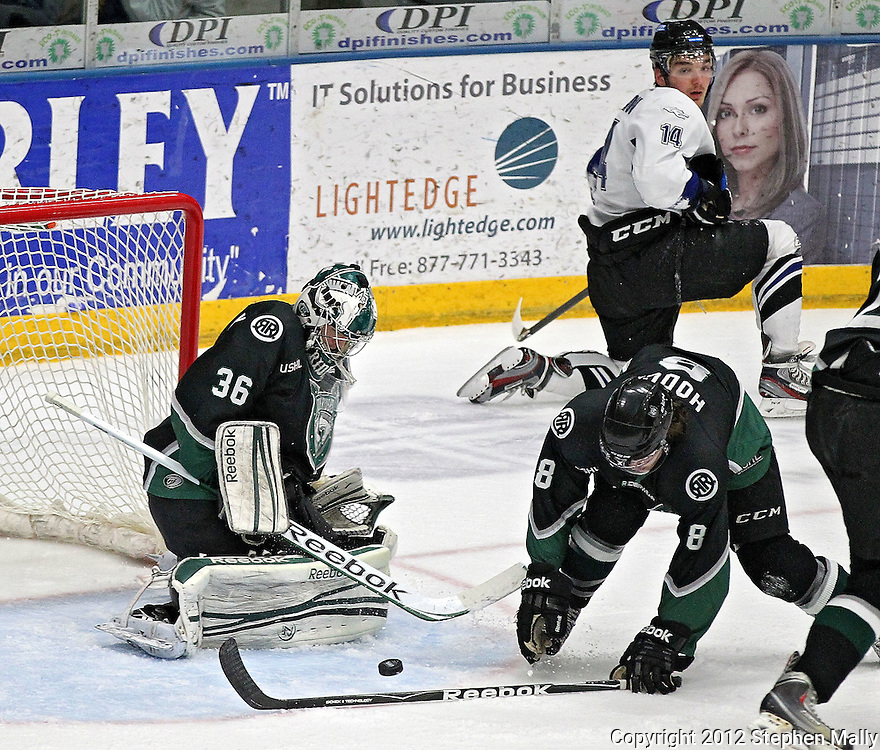 Roughriders' Matt McNeely (36) blocks a shot as Preston Hodge (8) looks on during their game at the Cedar Rapids Ice Arena, 1100 Rockford Road SW in Cedar Rapids on Saturday evening, February 18, 2012. (Stephen Mally/Freelance)