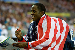 US Dwight Phillips celebrates his victory after competing in the men's long jump final of the 2009 IAAF Athletics World Championships on August 22, 2009 in Berlin, Germany. (Photo by Vid Ponikvar / Sportida)