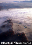 PA Landscape, Southcentral Pennsylvania, Aerial Photographs Perry County, Morning Fog, Farm and Forest, Fall Season