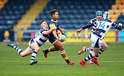 Ollie Lawrence (Bromsgrove School) of Worcester Warriors Under 18s is tackled - Mandatory by-line: Robbie Stephenson/JMP - 14/01/2018 - RUGBY - Sixways Stadium - Worcester, England - Worcester Warriors Under 18s v Yorkshire Carnegie Under 18s - Premiership Rugby U18 Academy
