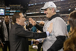 Philadelphia Eagles Executive Vice President Howie Roseman celebrates with Offensive Coordinator Frank Reich after winning the NFL NFC Championship game between The Minnesota Vikings and The Philadelphia Eagles at Lincoln Financial Field in Philadelphia on Sunday, January 21st 2018. (Brian Garfinkel/Philadelphia Eagles)