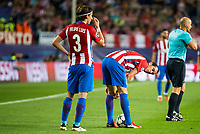 Atletico de Madrid's players Filipe Luis and Diego Godín during match of UEFA Champions League at Vicente Calderon Stadium in Madrid. September 28, Spain. 2016. (ALTERPHOTOS/BorjaB.Hojas)