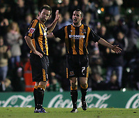 Photo: Lee Earle.<br /> Plymouth Argyle v Hull City. Coca Cola Championship. 09/12/2006. Hull's Stuart Elliott (R) makes his feelings known to Ian Ashbee after Plymouth scored.