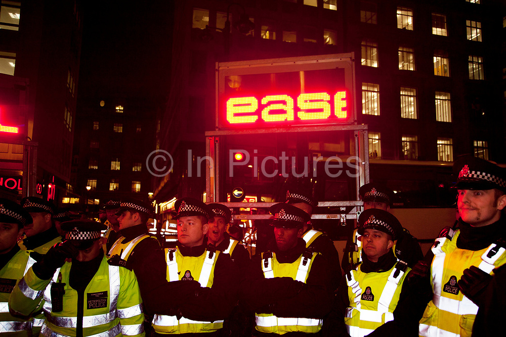 Police lines during a 'containment' tactic, or as protesters and journalists called it, a kettling situation on Panton Street as Occupy LX protesters split off from the main N30 demonstration.