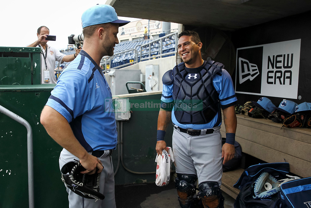June 5, 2017 - St. Petersburg, Florida, U.S. - WILL VRAGOVIC   |   Times.Charlotte Stone Crabs pitcher Brad Boxberger (11) talks with catcher Wilson Ramos (36) after the first inning of the game between the Charlotte Stone Crabs and the Clearwater Threshers at Spectrum Field in Clearwater, Fla. on Monday, June 6, 2017. (Credit Image: © Will Vragovic/Tampa Bay Times via ZUMA Wire)