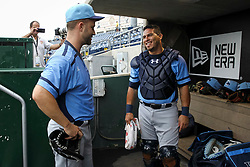 June 5, 2017 - St. Petersburg, Florida, U.S. - WILL VRAGOVIC       Times.Charlotte Stone Crabs pitcher Brad Boxberger (11) talks with catcher Wilson Ramos (36) after the first inning of the game between the Charlotte Stone Crabs and the Clearwater Threshers at Spectrum Field in Clearwater, Fla. on Monday, June 6, 2017. (Credit Image: © Will Vragovic/Tampa Bay Times via ZUMA Wire)