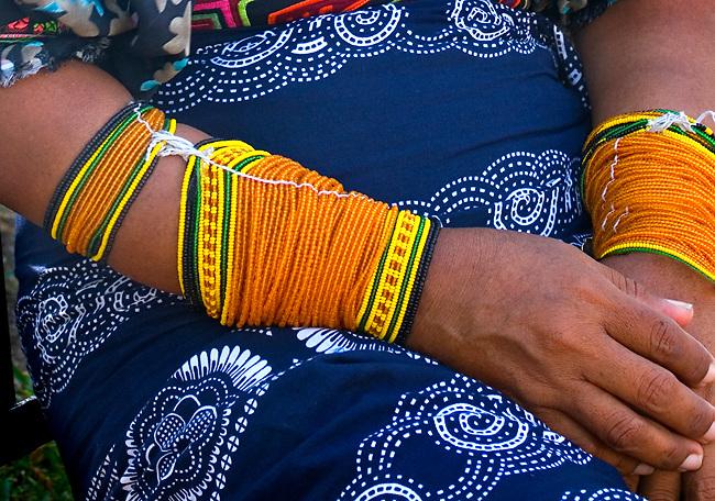 Panama, Panama City, Kuna Indian, Traditional Beaded Arm Bands, Mola Skirt, Textile Art