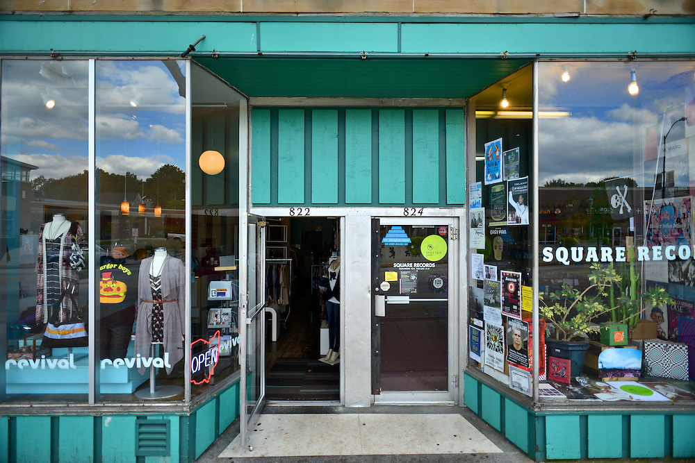 Front entrance doors of Square Records.