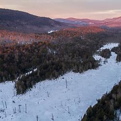 Wetlands below Huckleberry Mountain at dawn in South Johnsburg, New York. Adirondack Mountains.
