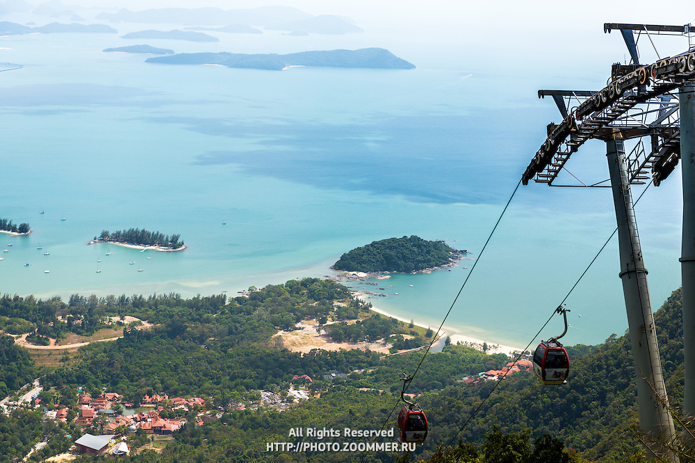 Cable car with panoramic background of Langkawi Island, Malaysia