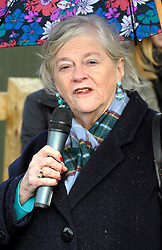 © Licensed to London News Pictures. 21/02/2014; Wraxall, North Somerset. Former MP Ann Widdecombe welcomes the arrival of the first elephant to 'Elephant Eden' at Noah's Ark Zoo Farm.  Elephant Eden is the largest purpose-built elephant habitat in northern Europe. A female African elephant called Buta aged 29 was transported to the new 20 acre (80,000 m2) habitat from Knowsley Safari after 4-months of special training. Former MP Ann Widdecombe welcomed Buta to Elephant Eden.  Buta will be followed shortly by Nissim, a 19 year old bull from the same herd at Knowsley Safari who will join her again at Noah's Ark Zoo Farm. The 'Elephant Eden' project was officially launched to the public with the help of the zoo's supporter Ann Widdecombe in September 2011. Construction work began in September 2012 after a year of planning and fundraising. Noah's Ark Zoo Farm is owned and run by Anthony Bush, and has been criticised for promoting the theory of creationism, as opposed to evolution.<br /> Photo credit: Simon Chapman/LNP
