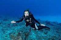 Sylvia on Reef with watch Seychelles