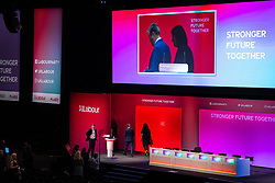 © Licensed to London News Pictures. 24/09/2021. Brighton, UK. Labour Party Leader SIR KEIR STARMER is seen leaving the auditorium stage of the Brighton Centre this evening (Friday 24th September 2021) ahead of the start of the Labour Party Conference . Photo credit: Joel Goodman/LNP