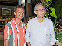 """President Jose Ramos-Horta of Timor-Leste (East Timor) (right) stands with Venancio """"Benny"""" Lopez Carvalho at his home in Dili on February 4, 2010."""