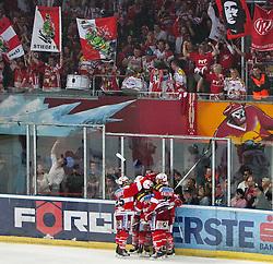03.04.2011, Volksgarten Arena, Salzburg, AUT, EBEL, FINALE, EC RED BULL SALZBURG vs EC KAC, im Bild Torjubel KAC nach dem 2 zu 3 Führung durch // during the EBEL Eishockey Final, EC RED BULL SALZBURG vs EC KAC at the Volksgarten Arena, Salzburg, 04/03/2011, EXPA Pictures © 2011, PhotoCredit: EXPA/ J. Feichter