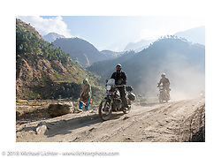 Chris Shelby on Day-7 of our Himalayan Heroes adventure riding from Tatopani to Pokhara, Nepal. Monday, November 12, 2018. Photography ©2018 Michael Lichter.