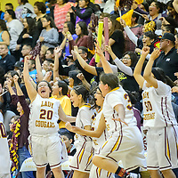 022715       Adron Gardner/Independent<br /> <br /> Cougar Shauna Cadman (20) and the Tohatchi Cougar bench react after the Cougars beat the Navajo Prep Eagles 44-43 for the district 1AAA championship in Tohatchi Friday.