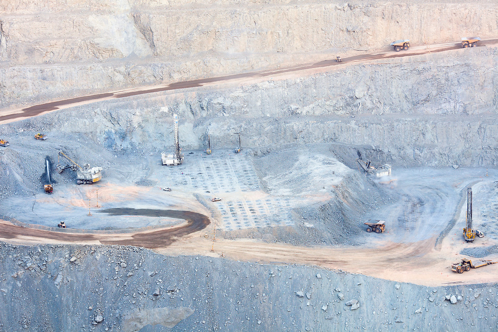 Calama, Chile - Operations at an open pit copper mine in northern Chile
