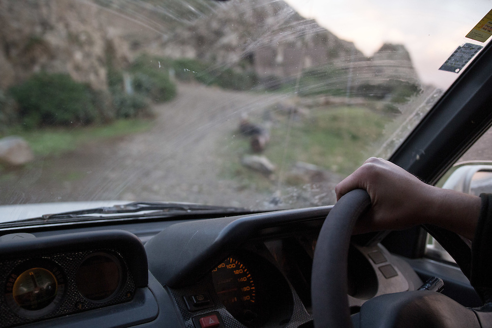 WELLINGTON, NEW ZEALAND - July 8:  Stanley Adams hand on the steering wheel with sea-spray creating a dirty windscreen on a 4WD trip around the south coast of Wellington. July 8, 2015 in Wellington, New Zealand.  REAL PEOPLE.  (Photo by Matt Silcock/ real-people.co.nz)