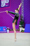 Tashkenbaeva Sabina from Uzbekistan during qualifying at clubs in Pesaro World Cup 14 April, 2018. Sabina was born in Tashkent 2000. She began competing in gymnastics at age six. His dream is to participate in the upcoming Tokyo Olympics in 2020.