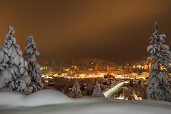 """""""Downtown Truckee 34"""" - Photograph of a snowy historic Downtown Truckee, shot in the early morning just before sunrise after a big snow storm."""