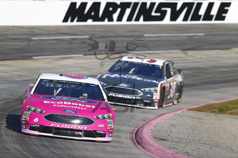 October 28, 2017 - Martinsville, Virginia, USA: Trevor Bayne (6) brings his car through the turns during practice for the First Data 500 at Martinsville Speedway in Martinsville, Virginia.