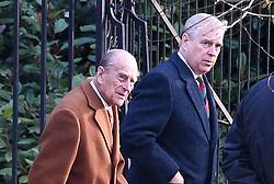 The Duke of Edinburgh (left) and The Duke of York arriving to attend the morning church service at St Mary Magdalene Church in Sandringham, Norfolk.