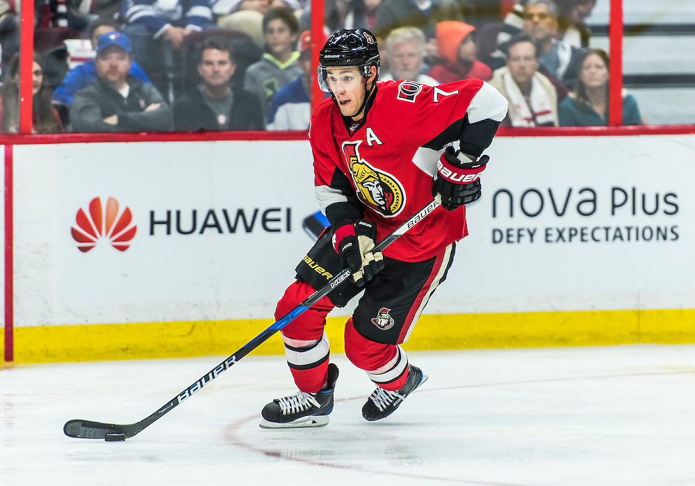 October 12, 2016: Ottawa Senators Center Kyle Turris (7) stickhandles the puck during the NHL game between the Ottawa Senators and the Toronto Maple Leafs at Canadian Tires Centre in Ottawa, Ontario, Canada. (Photo by Steve Kingsman/Icon Sportswire)