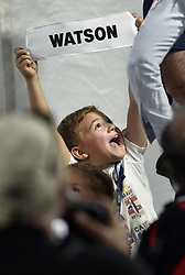 June 24, 2018 - Cromwell, CT, USA - Bubba Watson's son Caleb Watson, 6, holds up his father's caddie bib name tag at the victory ceremony after the final round of the Travelers Championship at TPC River Highlands in Cromwell, Conn., on Sunday, June 24, 2018. (Credit Image: © Brad Horrigan/TNS via ZUMA Wire)