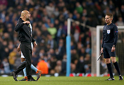Manchester City manager Pep Guardiola remonstrates at half time