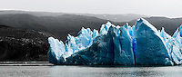 The abstract ice formations of Glacier Grey in Torres del Paine National Park, Chile.