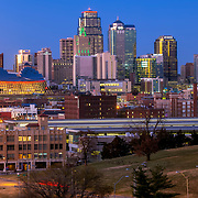 Kansas CIty Missouri downtown skyline in late 2019 with new addition of the Loews Hotel adjacent to the Convention Center
