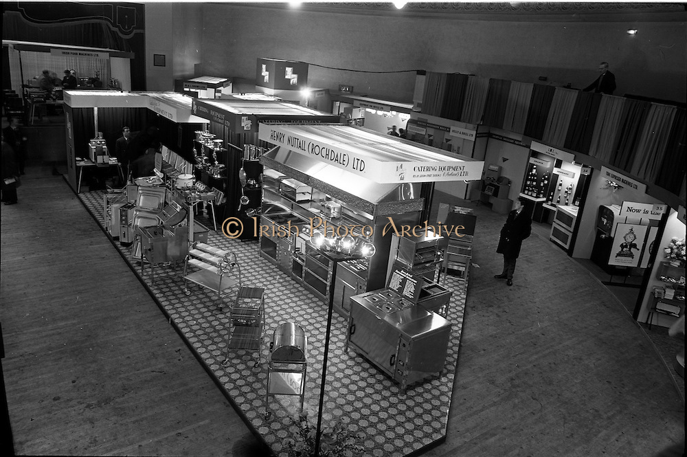 14/01/1963<br /> 01/14/1963<br /> 14 January 1963<br /> Opening of Irish Hotel and Catering Trades Exhibition at the Mansion House, Dublin.  A general view of stands at the event including Henry Nuttall (Rochdale) Ltd.