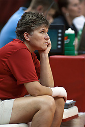 19 AUG 2006  Coach Sharon Dingman watches her players warm up before the scrimmage..Game action took place at Redbird Arena on the campus of Illinois State University in Normal Illinois.