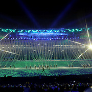 Opening Ceremony 2016 Olympic Games:  Maracana Stadium during the spectacular opening ceremony for the 2016 Olympic Games on August 5, 2016 in Rio de Janeiro, Brazil. (Photo by Tim Clayton/Corbis via Getty Images)<br /> (Note to editors: A special effects starburst filter was used in the creation of this image)