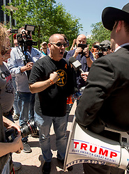 May 05, 2018 - Dallas, Texas, U.S. -  FRED GUTTENBERG, father of a Parkland, Florida shooting victim, confronts a provocateur from the right wing fake news organization InfoWars at the #NoRA (No Rifle Association) gathering, one of several protests taking place during the NRA's annual convention. (Credit Image: © Brian Cahn via ZUMA Wire)