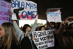 October 6, 2018 - Sao Paulo, Sao Paulo, Brazil - Women and social movements are participating in the second protest against Brazil's presidential candidate, Jair Bolsonaro, on the eve of the first round of the 2018 elections, on Avenida Paulista, central Sao Paulo. October 06, 2018. (Credit Image: © Fotorua/NurPhoto/ZUMA Press)