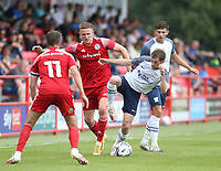 Preston North End's Tom Barkhuizen and Accrington Stanley's John O'Sullivan<br /> <br /> Photographer Stephen White/CameraSport<br /> <br /> Football Pre-Season Friendly - Accrington Stanley v Preston North End - Saturday 24th July 2021 - Crown Ground - Accrington<br /> <br /> World Copyright © 2021 CameraSport. All rights reserved. 43 Linden Ave. Countesthorpe. Leicester. England. LE8 5PG - Tel: +44 (0) 116 277 4147 - admin@camerasport.com - www.camerasport.com