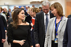 HANDOUT - L-R : Special Envoy for the United Nations High Commissioner for Refugees (UNHCR), Angelina Jolie and Permanent Representative of Iceland to NATO, Anna Johanssdottir talk at NATO headquarters in Brussels, Belgium, as Angeline Jolie visits the Organisation on January 31, 2018. Photo by NATO via Balkis Press/ABACAPRESS.COM