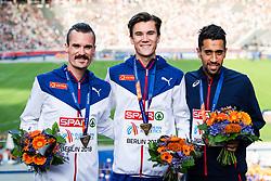 August 12, 2018 - Berlin, GERMANY - 180812 Silvermedalist Henrik Ingebrigtsen of Norway, gold medalist Jakob Ingebrigtsen of Norway and bronze medalist Morhad Amdouni of France at the medal ceremony for the men's 5000 meter during the European Athletics Championships on August 12, 2018 in Berlin..Photo: Vegard Wivestad Grøtt / BILDBYRÃ…N / kod VG / 170207 (Credit Image: © Vegard Wivestad GrØTt/Bildbyran via ZUMA Press)