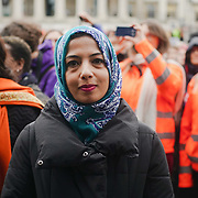 London, UK. 4th March 2018. Faeeza Vaid of Muslim Women Network UK join the Women's Day march 2018 marks 100 years since (some) women in the UK were legally allowed to vote. One hundred years on women still marching for equality demand 50/50 women in  Paliament calling for an end sexual harassment, violence and rape.