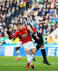 Alexis Sanchez of Manchester United battles with Paul Dummett of Newcastle United - Mandatory by-line: Matt McNulty/JMP - 11/02/2018 - FOOTBALL - St James Park - Newcastle upon Tyne, England - Newcastle United v Manchester United - Premier League