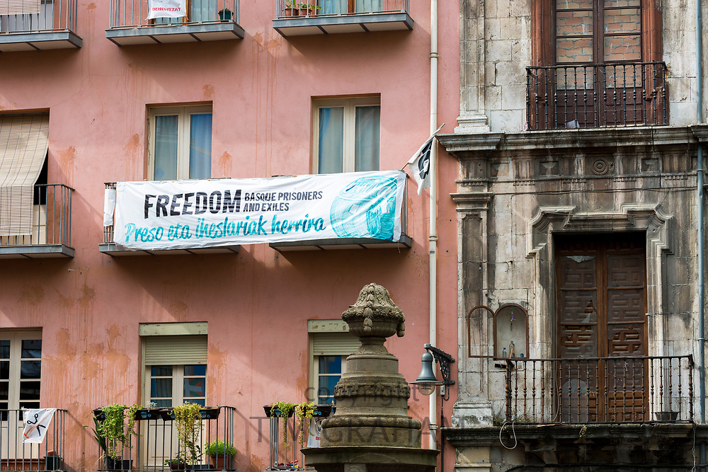 Basque protest banner poster in Pamplona, Navarre, Northern Spain