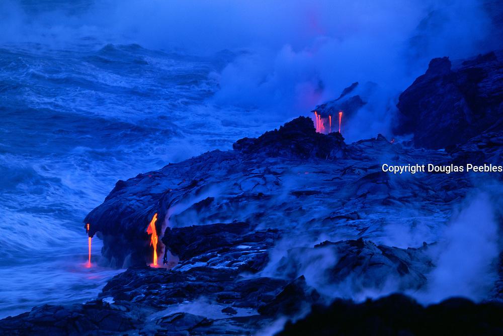 Lava into Ocean, Kilauea Volcanoes, Island of Hawaii, Hawaii, USA<br />