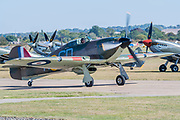 Spitfires and Hurricanes taxi for take off - Duxford Battle of Britain Air Show at the Imperial War Museum. Also commemorating the 50th anniversary of the 1969 Battle of Britain film. It runs on Saturday 21 & Sunday 22 September 2019
