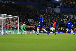5 November 2017 -  Premier League - Chelsea v Manchester United - Álvaro Morata of Chelsea scores the opening goal with a looping header - Photo: Marc Atkins/Offside