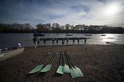 Putney, London, Varsity, Tideway Week, 5th April 2019, Embankment, CUWBC, Blue Boat,  boating on Friday Morning, Oxford Cambridge Media week, Championship Course,<br /> [Mandatory Credit: Peter SPURRIER], Friday,  05.04.19,