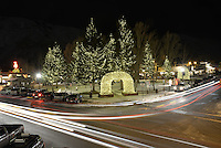 Holiday lights on the Jackson Town Square