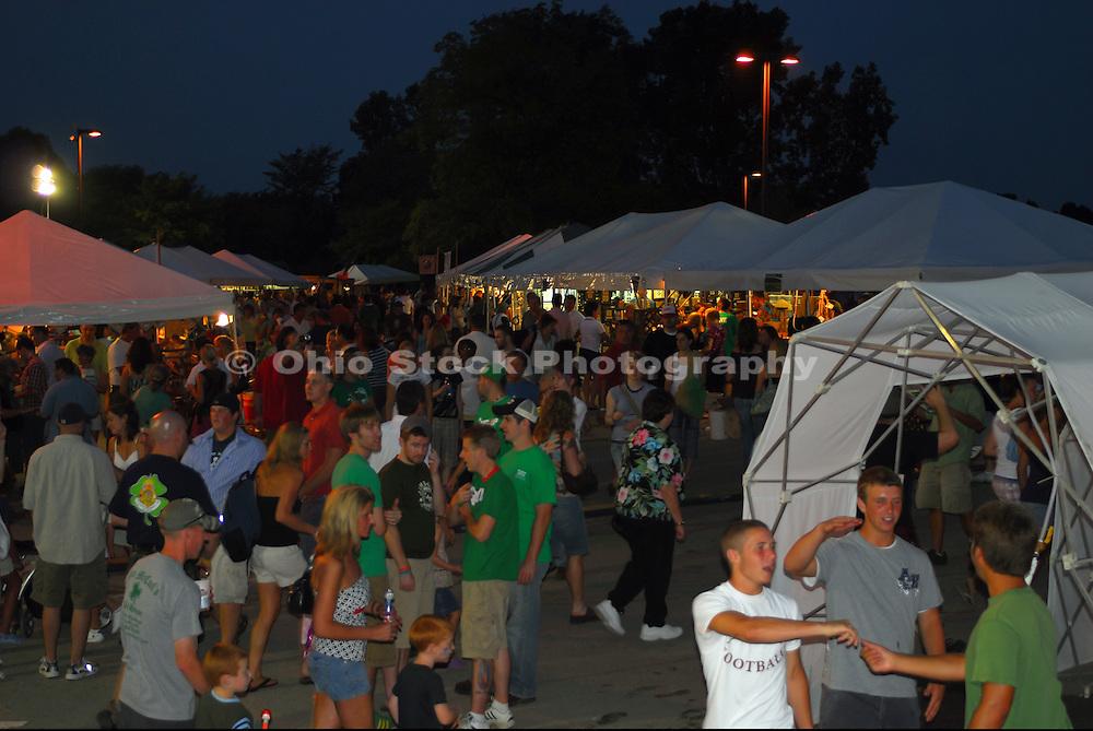 Photo of a group of people enjoying the Dublin Irish Festival at dusk.